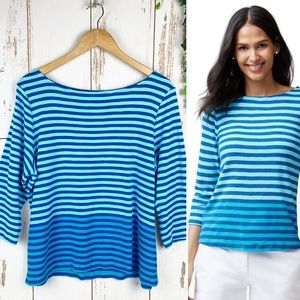 Tommy Bahama Ashby Juan 3/4 Sleeve Blue Stripe Top